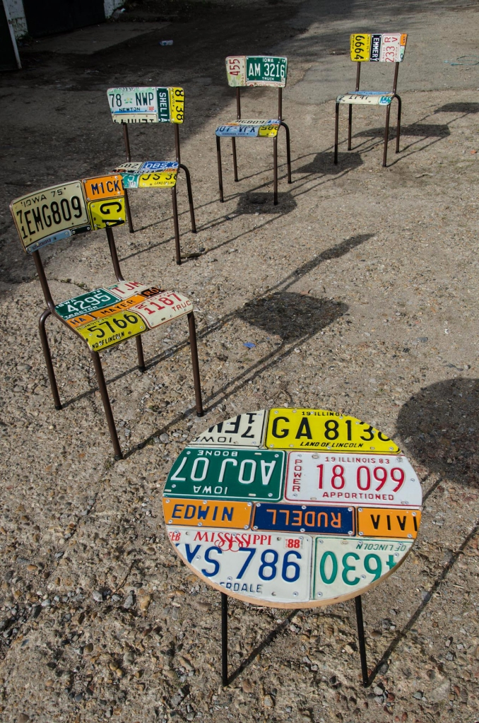American Number plate set of 4 and table 1