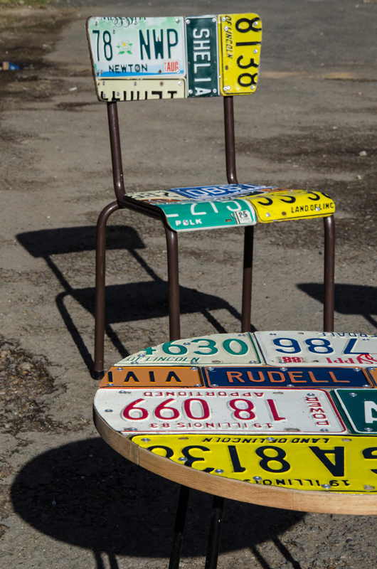 American Number plate set of 4 and table 2