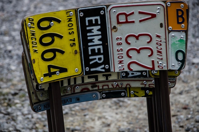 American Number plate set of 4 and table 6